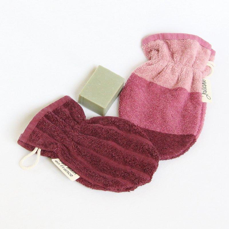 Débarbouillettes ou gant de toilette enfant élastiqué prune