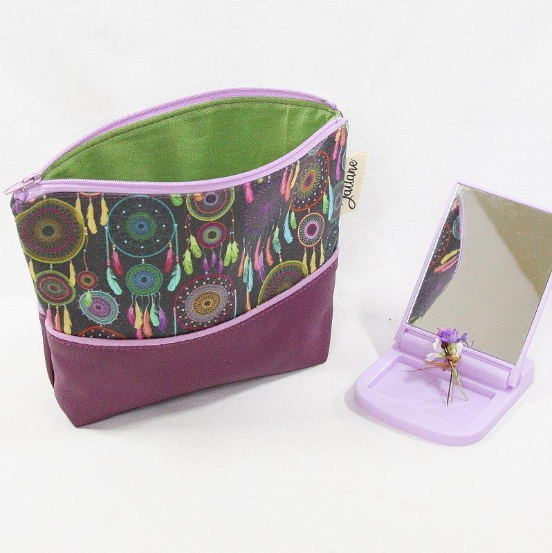 Trousse trapèze en simili cuir violet et tissu fond noir et attrapes rêves
