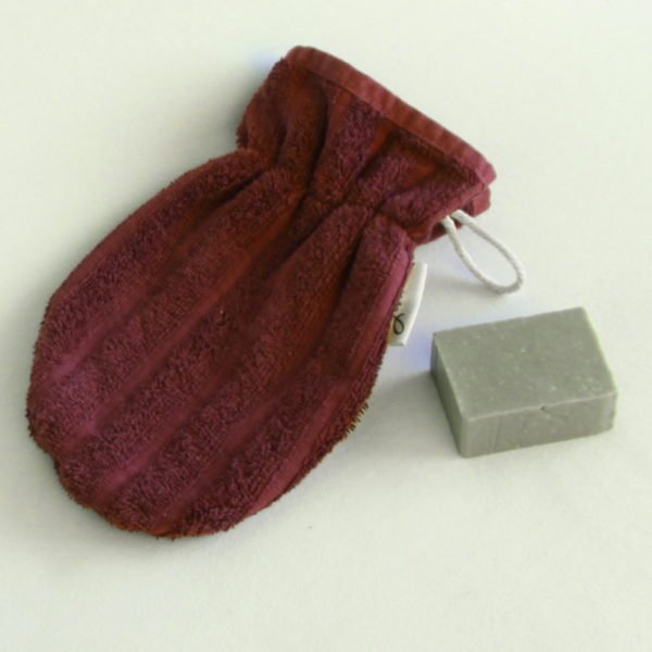 Débarbouillette ou gants de toilette enfant élastiqué taille 6 - 10 ans couleur Aubergine