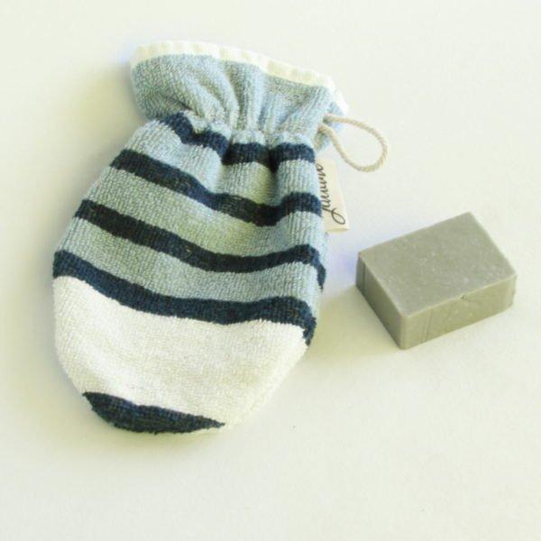 Débarbouillette ou gant de toilette enfant élastiqué, 6-10 ans coloris bleu rayé