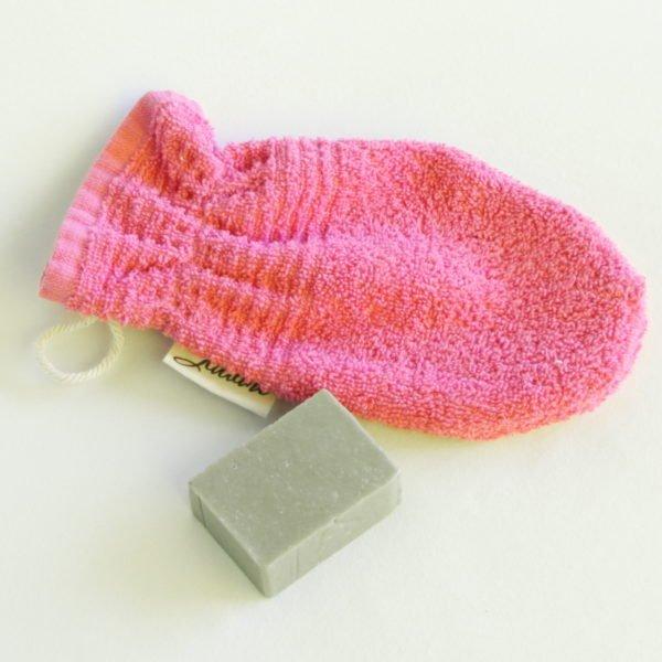 Débarbouillette, gant de toilette enfant élastiqué, 6-10 ans coloris rose