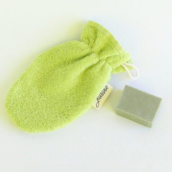Débarbouillette ou gant de toilette enfant élastiqué, 6-10 ans coloris vert clair