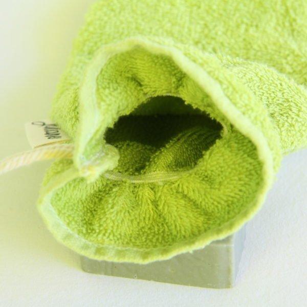 Débarbouillette, gant de toilette enfant élastiqué, 6-10 ans coloris vert clair