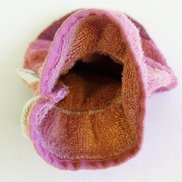 Débarbouillette ou gant de toilette enfant élastiqué, 6-10 ans coloris vieux rose