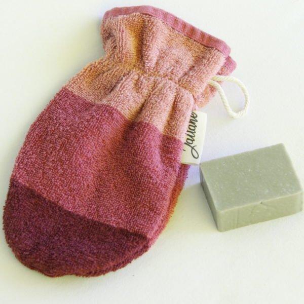 Débarbouillette, gant de toilette enfant élastiqué, 6-10 ans coloris vieux rose