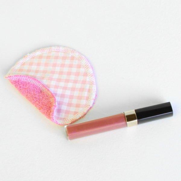 Disque à démaquiller rond, zéro déchet, tissu vichy rose et éponge rose