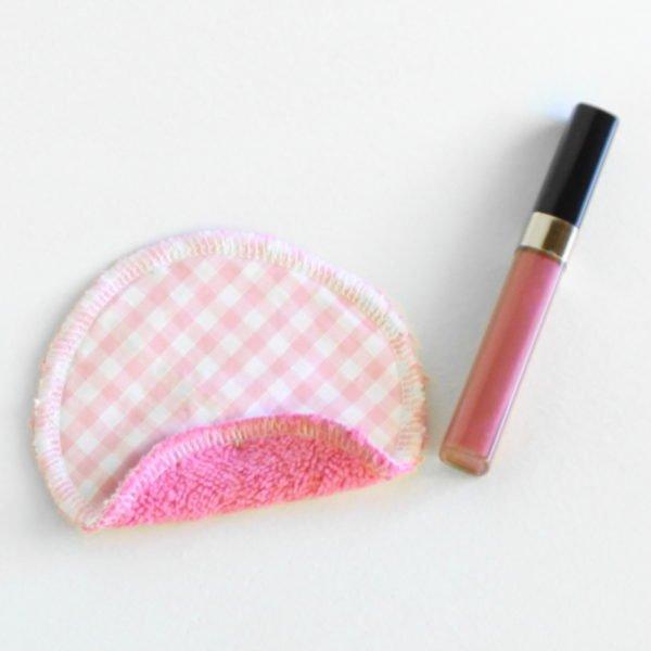 Disque à démaquiller rond, lavable, tissu vichy rose et éponge rose