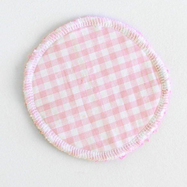 Disque à démaquiller rond, lavable et zéro déchet, tissu vichy rose et éponge rose