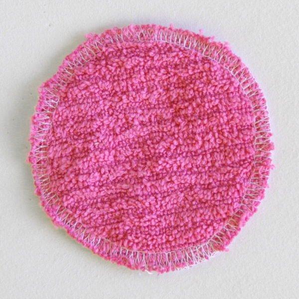 Disque à démaquiller zéro déchet petit tissu rose et éponge rose
