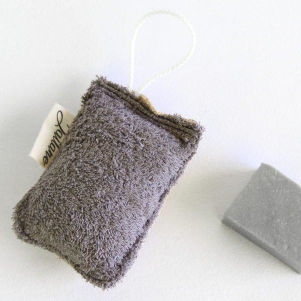 Éponge durable, zéro déchet, éponge grise anthracite et toile de jute