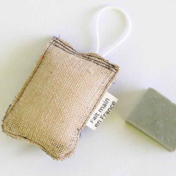 Éponge durable, zéro déchet, en éponge grise anthracite et toile de jute