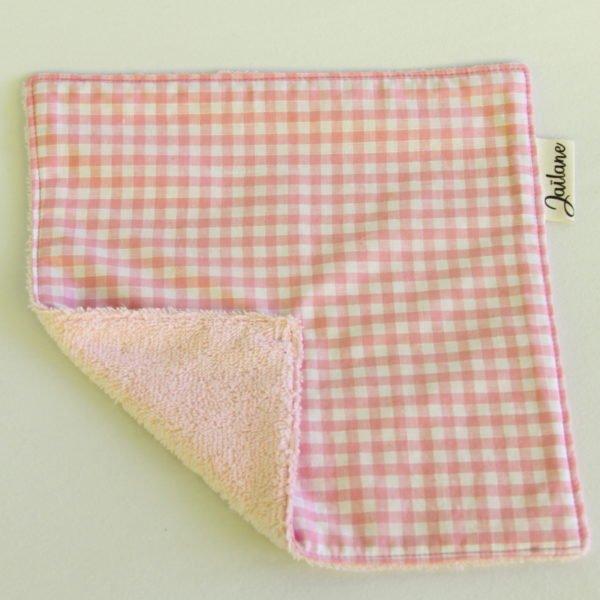 Essuie-tout lavable vichy rose éponge rose clair