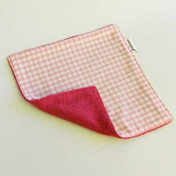 Essuie-tout lavable zéro déchet vichy rose foncé