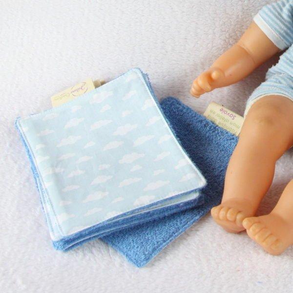 Lingettes bébé bleues