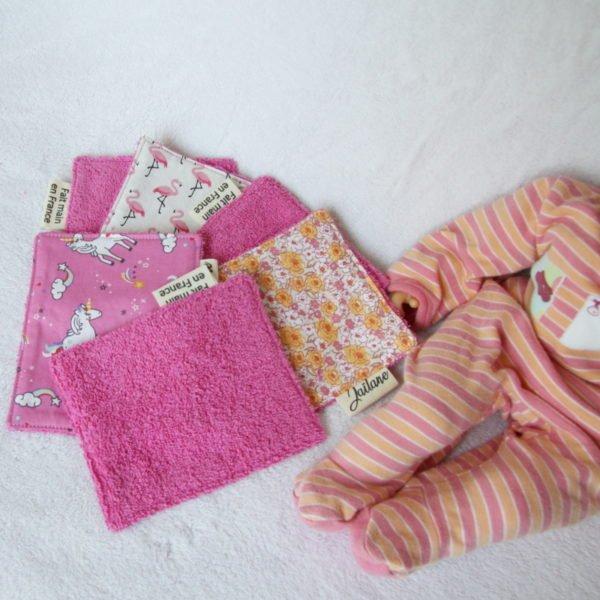 Lot de 6 lingettes en éponge rose, tissus imprimés licornes, flamands et fleurs