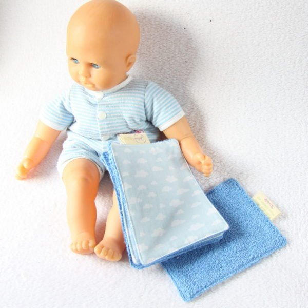 Lingettes lavables spéciales bébé bleu