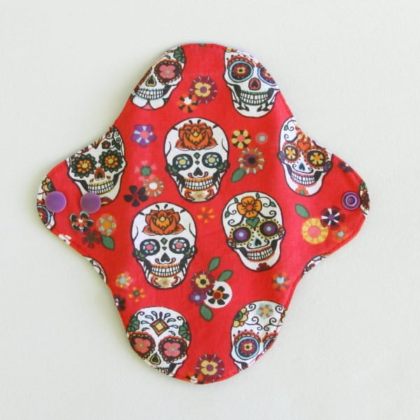 Protège Slip Lavable, PSL, masques calaveras rouges. Protection intime zéro déchet.