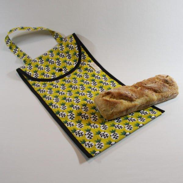 Sac à pain doublé avec tissu en coton certifié contact alimentaire