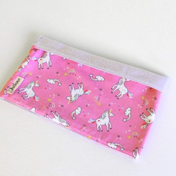 Snood enfant en polaire parme et tissu rose imprimé licornes