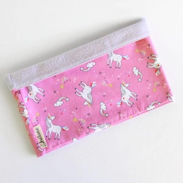 Snood enfant réversible, en polaire parme et tissu rose imprimé licornes