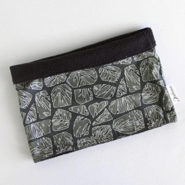 Snood Homme réversible, en polaire noire et tissu imprimé feuilles camouflage