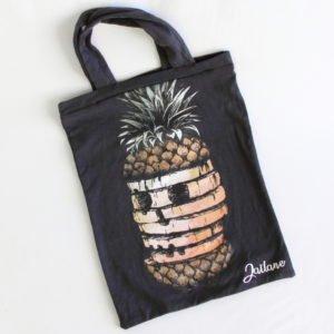 Tote Bag noir ananas squelette