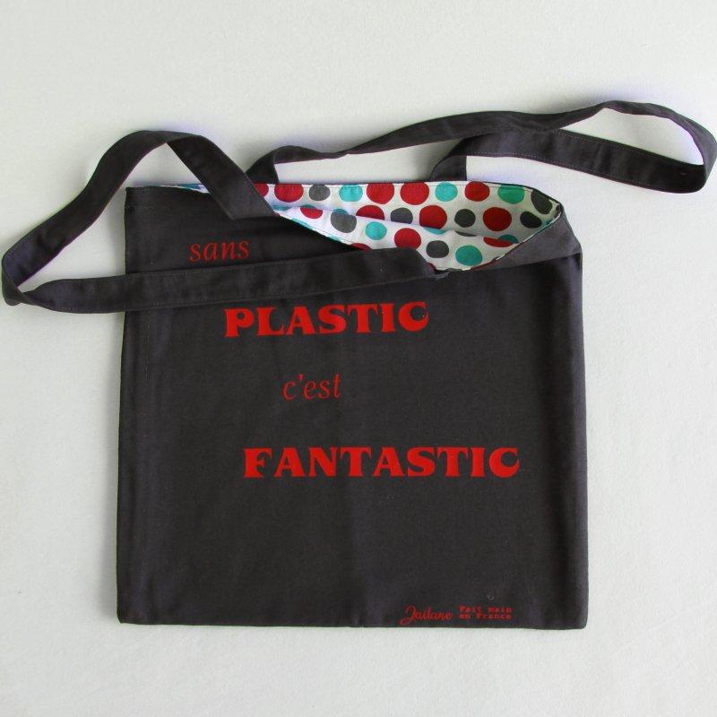 """Tote bag gris anthracite poeronnalisé """" sans Plastic c'est Fantastic"""""""