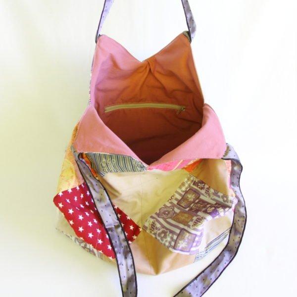 Sac 22 carrés , recyclage de tissus, anses en ceinture de satin