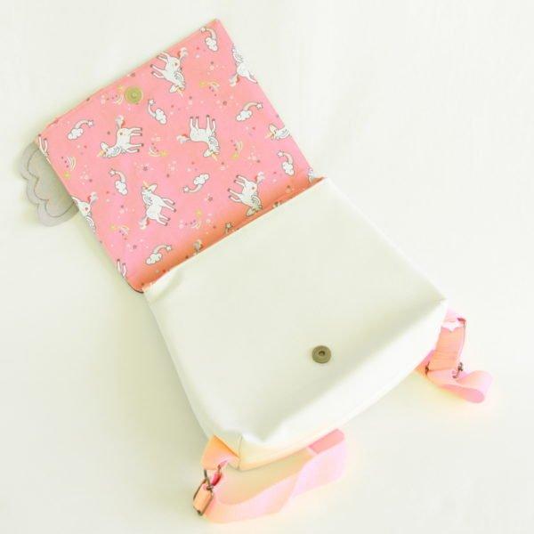 Sac à dos enfant licorne, intérieur en coton rose imprimé de licornes