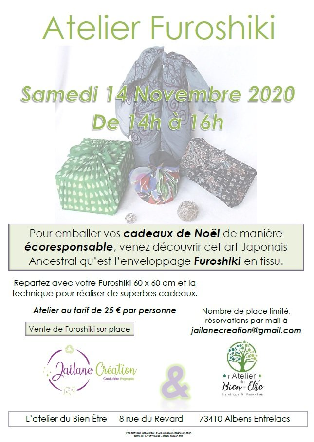 affiche atelier furoshiki 14 novembre 2020 albens entrelacs savoie rhone alpes france