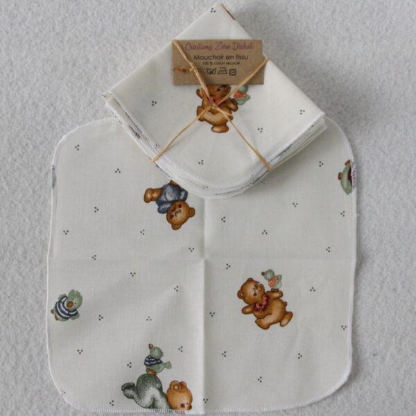 Mouchoir en tissu réutilisable, motifs enfants oursons
