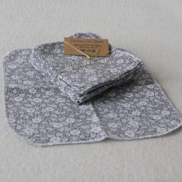 Mouchoir en tissu lavable, motifs petites fleurs blanches sur fond gris