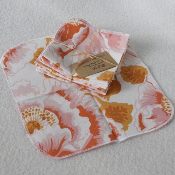 Mouchoir en tissu réutilisable, motifs grandes fleurs roses et oranges