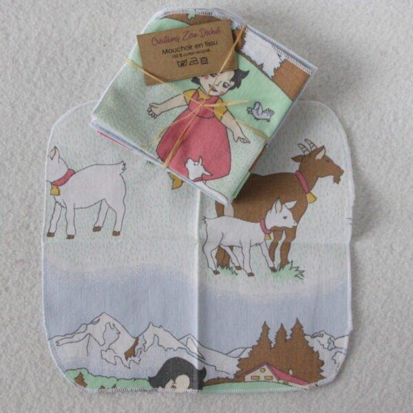 Mouchoir en tissu réutilisable, motifs enfant prairie