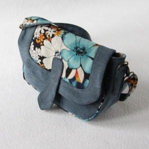 Sac Bandoulière en jeans et tissu fleurs