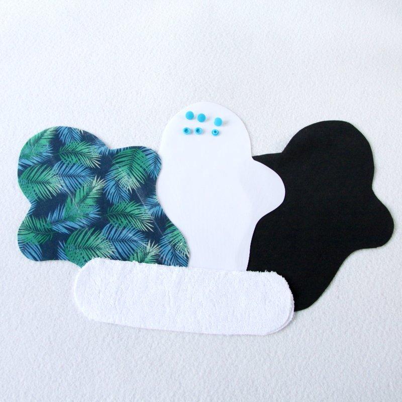 Kit prêt à coudre pour protection féminine, serviette hygiénique flux normal coloris feuillage bleu
