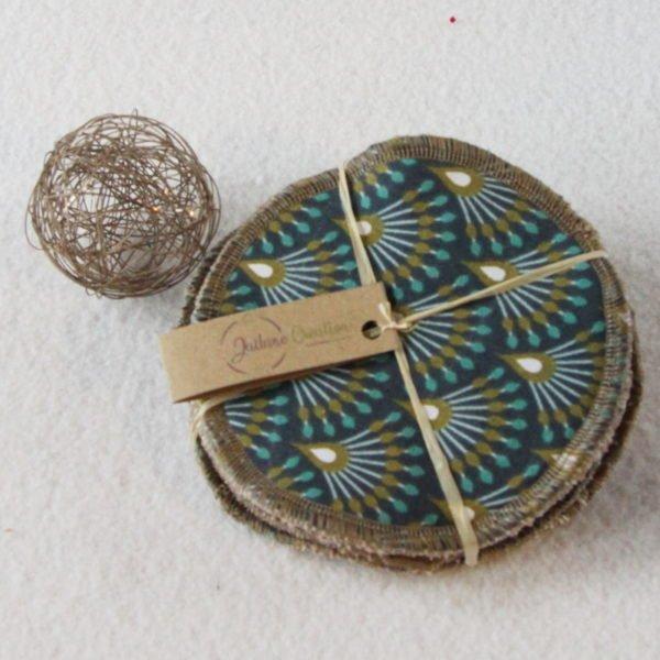 Lot de 6 disques à démaquiller rond 11,5 cm beige éventails bleus