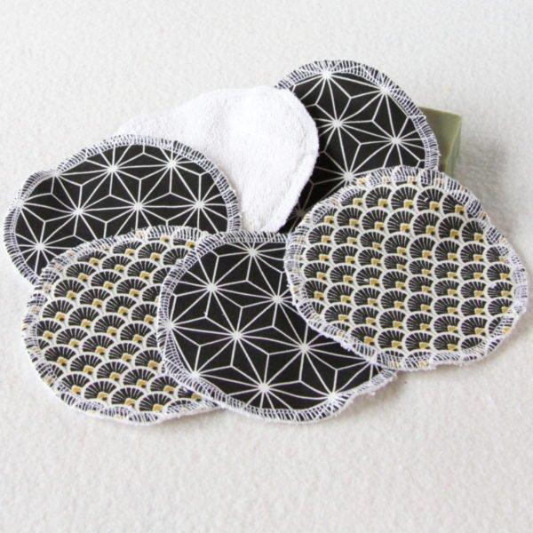 Lot de 6 disques à démaquiller rond 11,5 cm noir et blanc mélangés