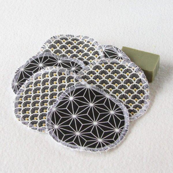 Lot de 6 disques à démaquiller rond 11,5 cm noir et blanc, éponge blanche