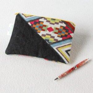 Trousse pochette plate zippée Upcycling