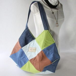 Sac 22 carrés jeans & polo 100% Upcycling