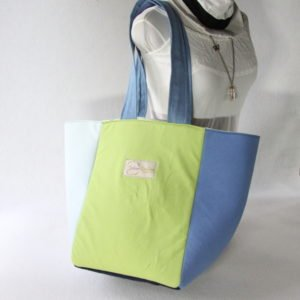 Sac plage / yoga 5 carrés 100 % Upcycling