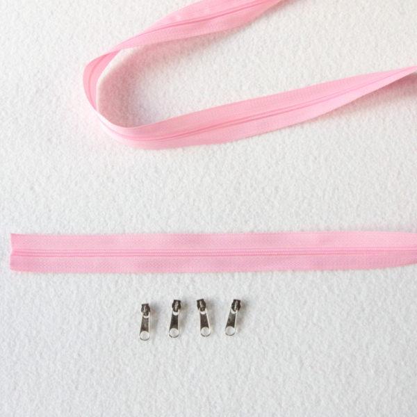 Zip, fermeture éclair, fermeture à glissière #3 rose au mètre