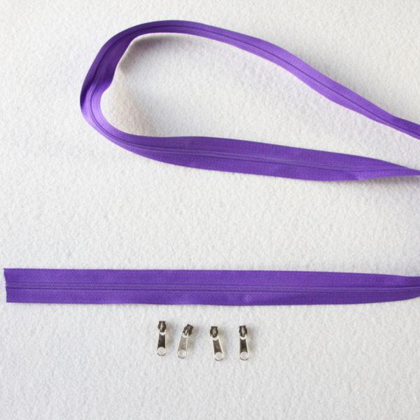 Zip, fermeture éclair, fermeture à glissière #3 violet au mètre