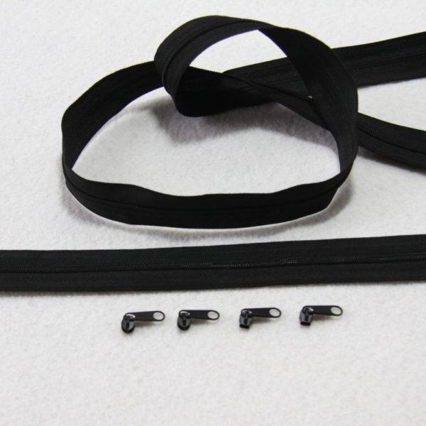 Zip , fermeture éclair, fermeture à glissière #3 noire au mètre