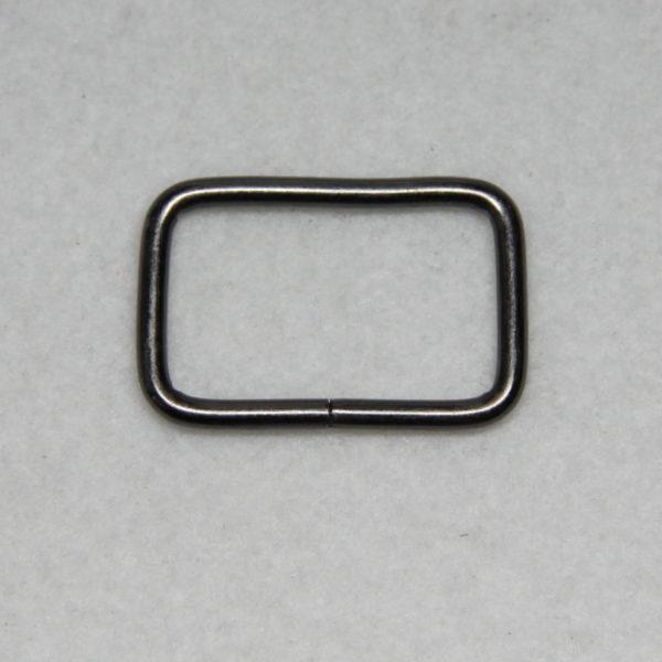 Boucle rectangle en métal de couleur noir patiné en 25 mm de large