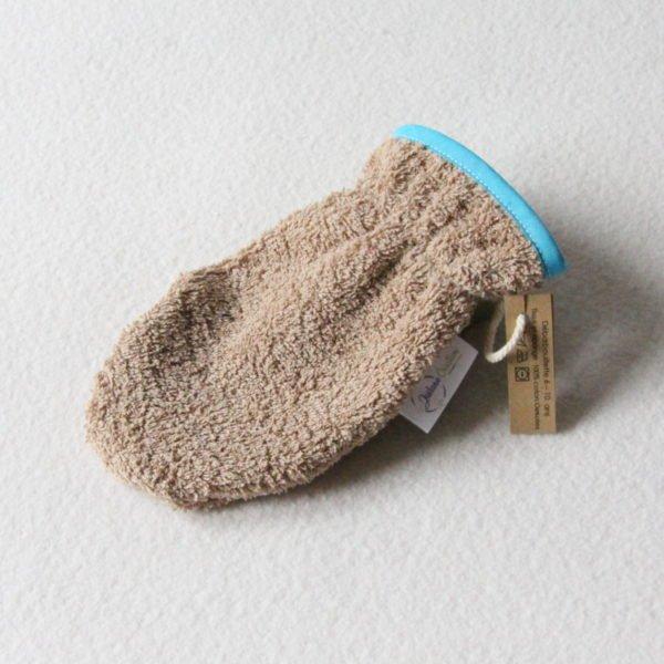 Débarbouillette ou gant de toilette enfant élastiqué 6 à 10 ans de couleur beige avec un biais bleu
