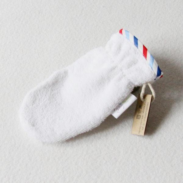 Débarbouillette ou gant de toilette enfant élastiqué 6 à 10 ans de couleur blanche avec un biais bleu / blanc / rouge