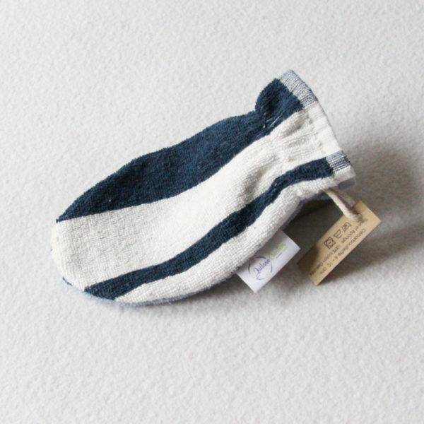 Débarbouillette ou gant de toilette enfant élastiqué 6 à 10 ans de couleur bleu et blanc rayé