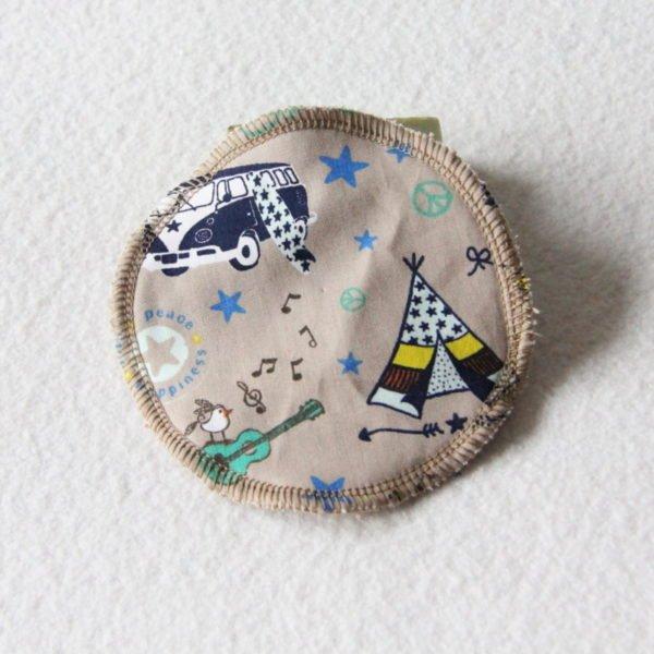 Disque à démaquiller grand rond, lingette zéro déchet tissu beige combi bleu & éponge beige